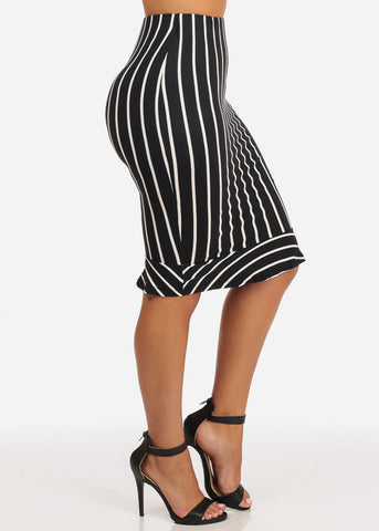 Image of Slim White Stripe Midi Skirt (Black)