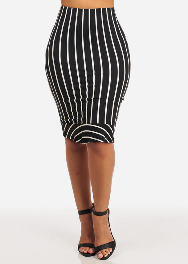Slim White Stripe Midi Skirt (Black)