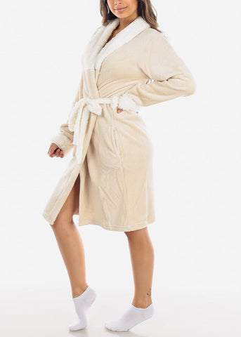 Light Beige Fleece Robe