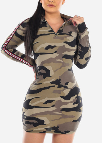 Sexy Zip Up Camouflage Mini Dress