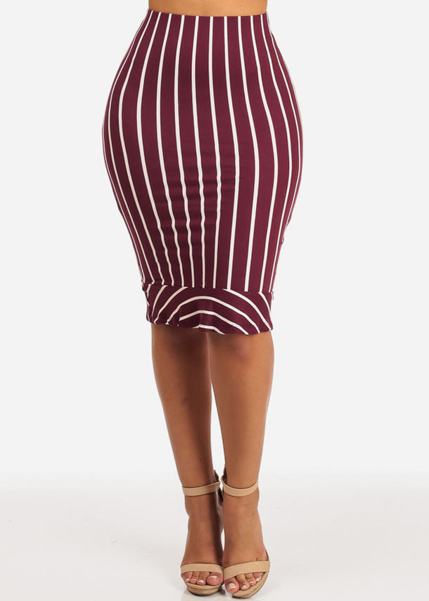 Slim White Stripe Midi Skirt (Burgundy)
