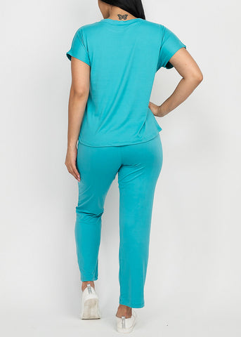 Jade Top & Straight Legged Joggers (2 PCE SET)