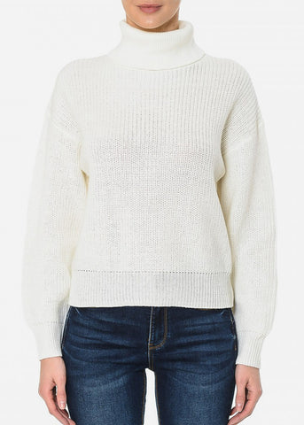Turtle Neck Oversized Ivory Sweater