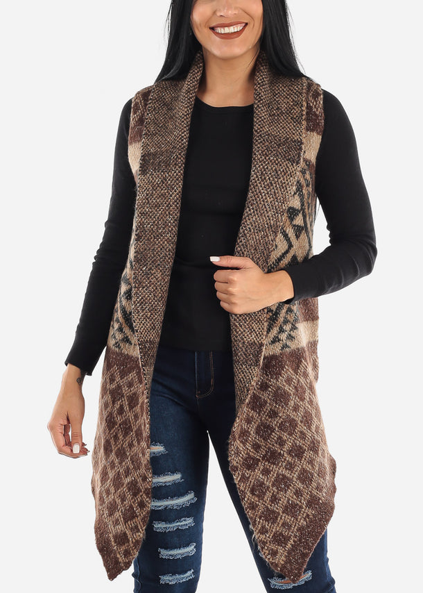 Brown Sleeveless Cardigan