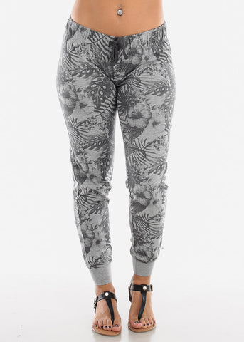 Image of Drawstring Waist Grey Floral Jogger Pants LPO00015GRY