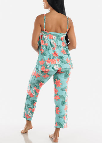 Floral Mint Cami & Pants (2 PCE PJ SET)