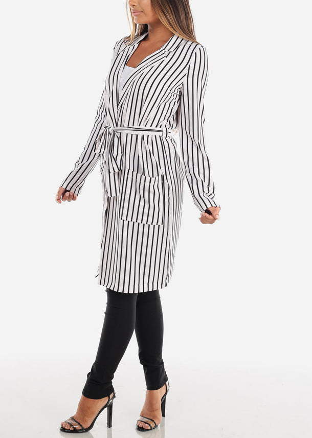 White Stripe Belted Long Blazer