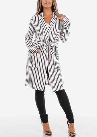 Image of White Stripe Belted Long Blazer