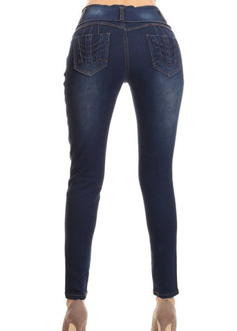 Mid Rise Dark Wash Pull On Skinny Jeans