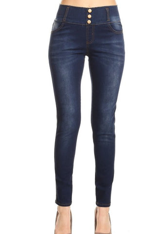 Image of Mid Rise Dark Wash Pull On Skinny Jeans