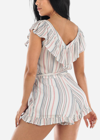 Image of Lightweight White Stripe Romper
