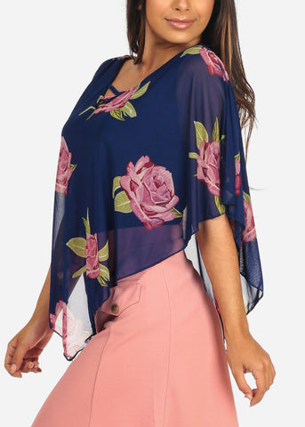 Image of Women's Junior Ladies Sexy Dressy Casual Floral Print Mesh Detail Blue Blouse