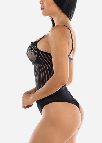 Image of Sweetheart Neckline Black Bodysuit