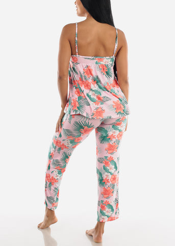 Image of Floral Pink Cami & Pants (2 PCE PJ SET)