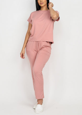 Mauve Top & Straight Legged Joggers (2 PCE SET)