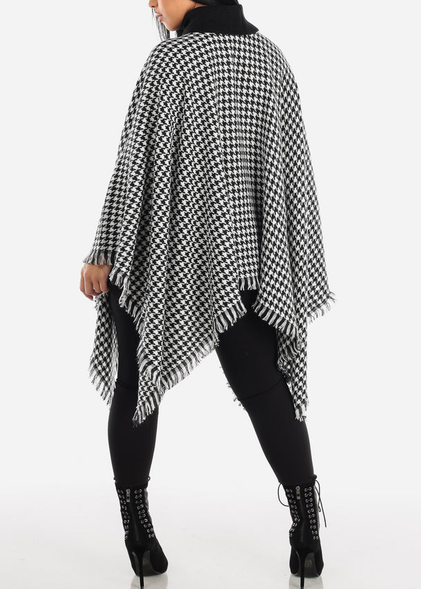 Black & White Houndstooth Turtleneck Poncho