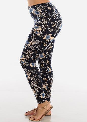 Image of Blue Floral Print Leggings L136CRMBLU