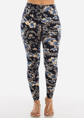 Image of Blue Floral Print Leggings