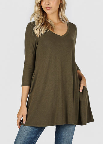 Olive Flared Tunic Top