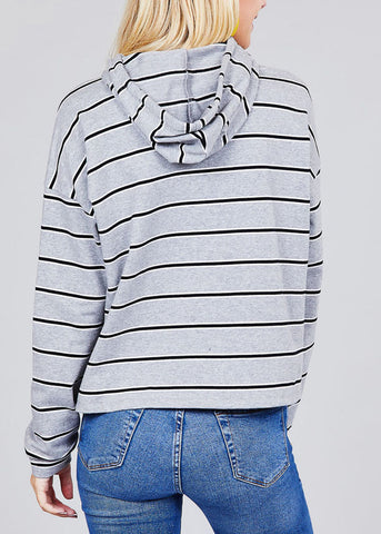 Image of Casual Long Sleeve Grey Stripe Pullover Sweatshirt W Hood