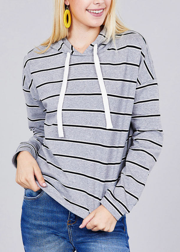 Casual Long Sleeve Grey Stripe Pullover Sweatshirt W Hood