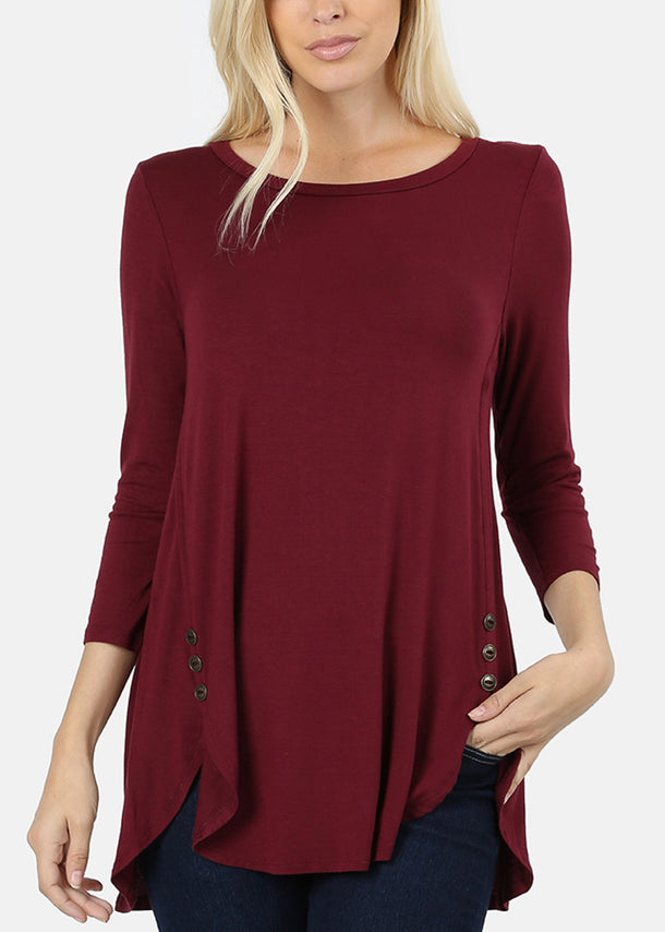 Casual Buttons Front Burgundy Tunic Top