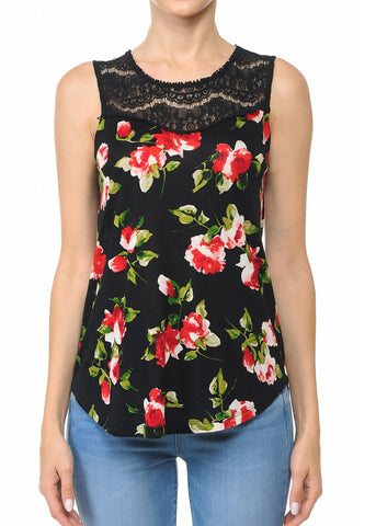 Image of Black Floral Print Top