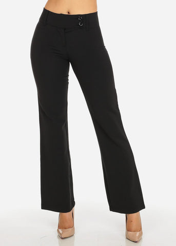 Image of Evening Wear Black High Waisted 2-Button Straight Leg Pants