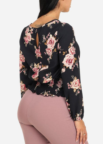Dressy Navy Floral Blouse
