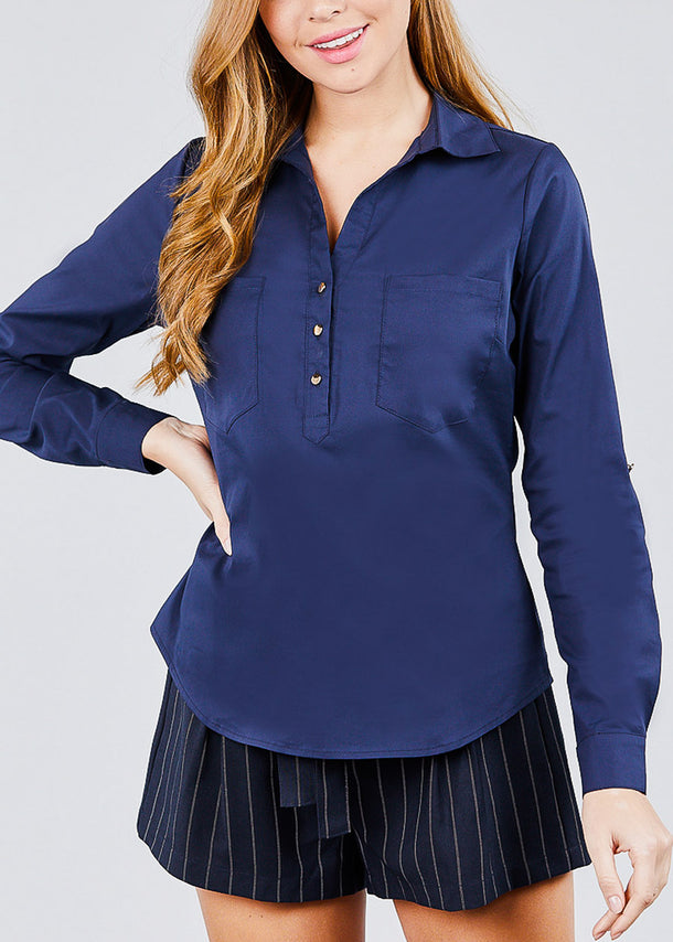Navy Cotton Button Up Shirt