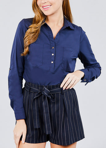Image of Navy Button Up Shirt