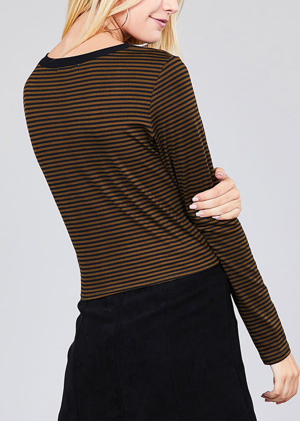 Cute Olive Stripe Crop Top
