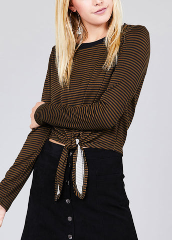Image of Casual Round Neckline Tie Front Olive Stripe Crop Top