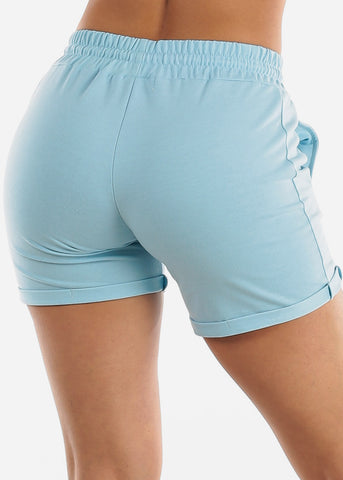 Light Blue Drawstring Biker Shorts