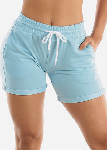 Image of Light Blue Drawstring Biker Shorts