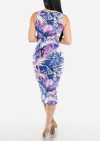 Sleeveless Printed Blue Midi Dress