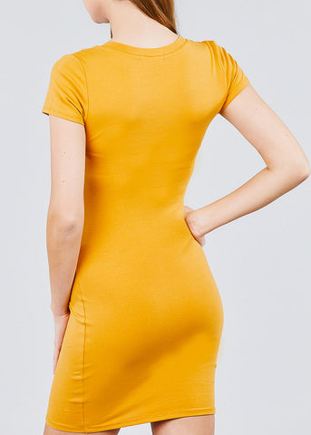 Image of Mustard V Neck Bodycon Mini Dress