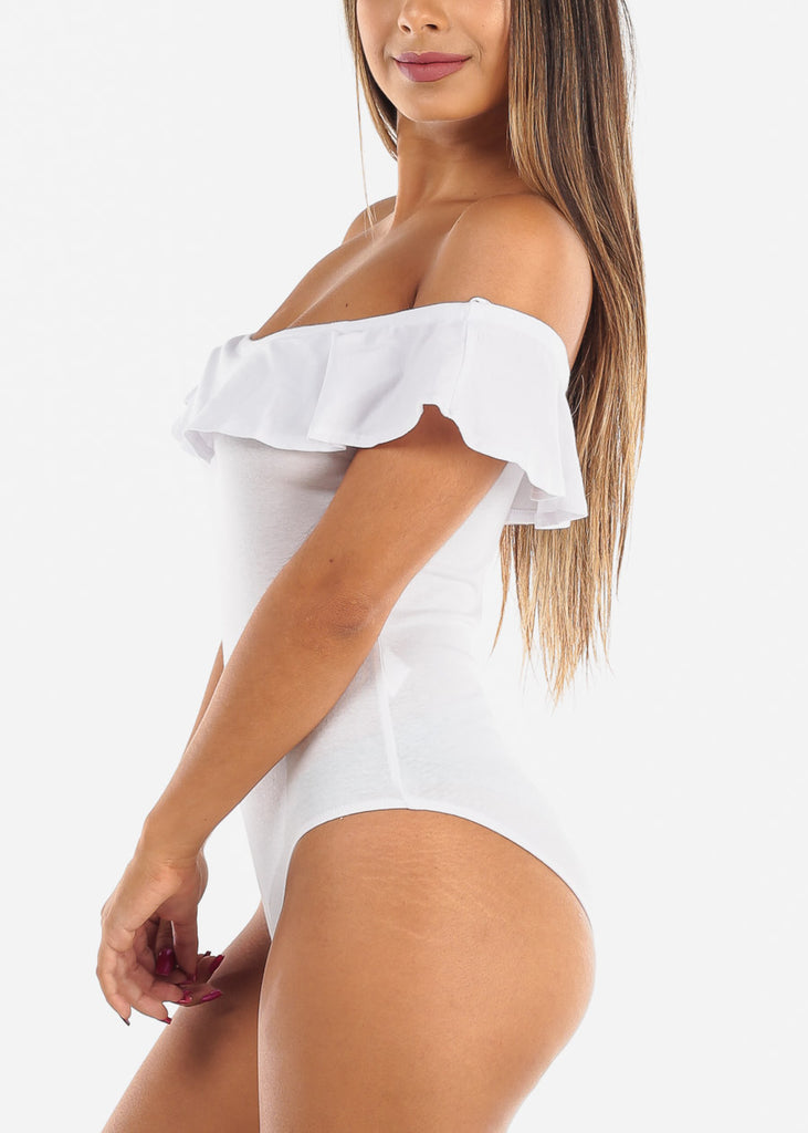 Off Shoulder Ruffled White Bodysuit