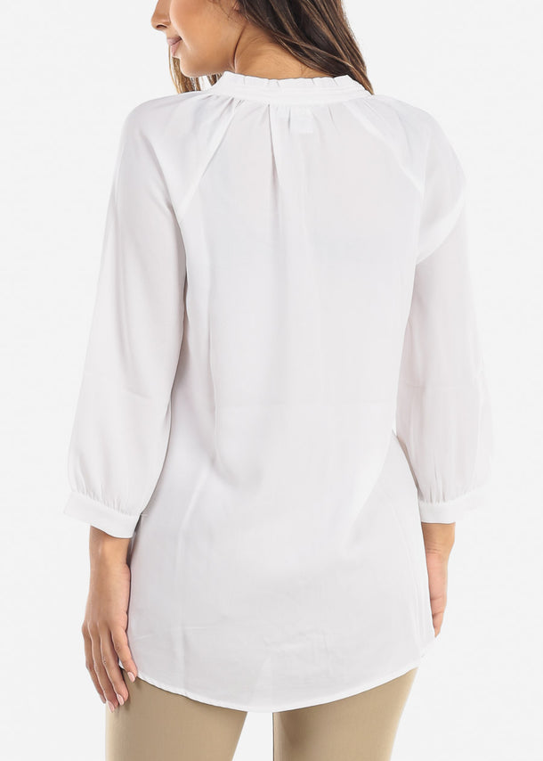 White Tie Neck Blouse