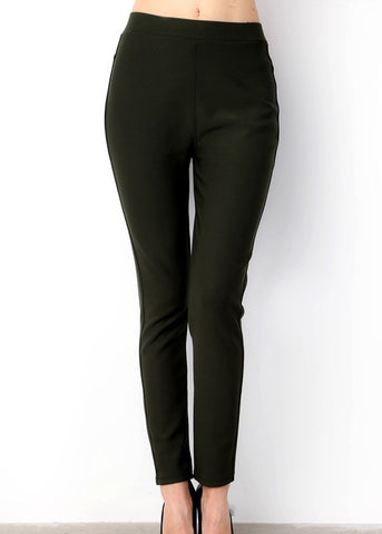 High Rise Olive Skinny Pants