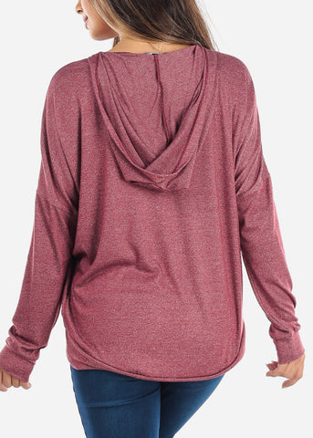 Lace Up Burgundy Sweatshirt