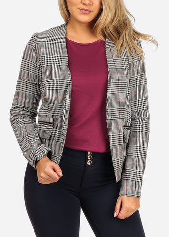 Women's Junior Stylish Professional Business Career Wear Red Houndstooth Printed Open Front Blazer