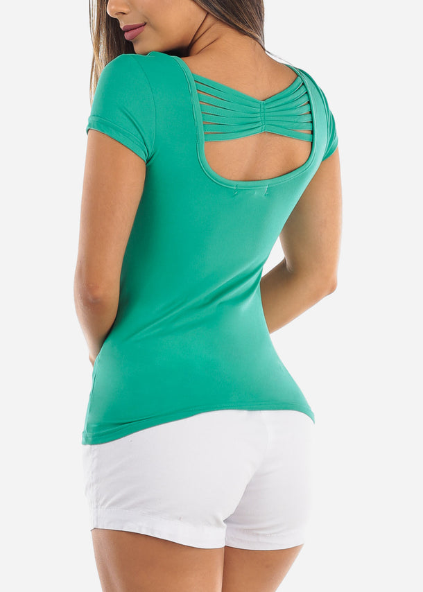 Casual Cute Essential Green Stretchy Top With back Multi Straps For Women Ladies On Sale