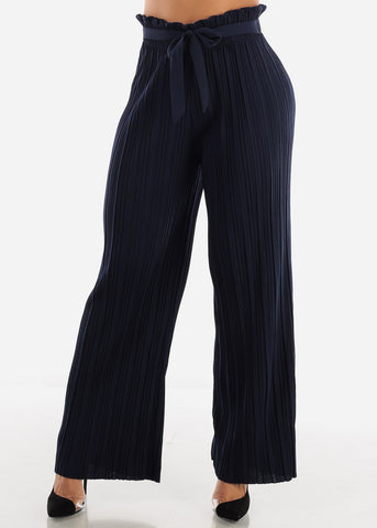 Image of High Waist Navy Palazzo Pants