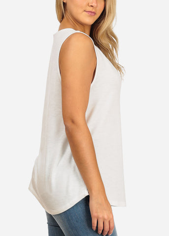 Women's Junior Ladies Casual Basic Essential Solid Color Strappy V Neckline Ivory Tank Top