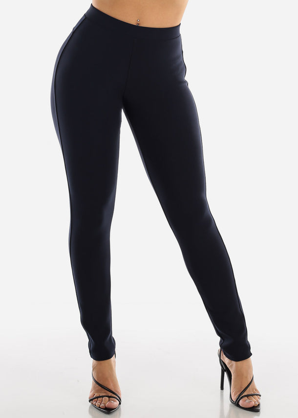 High Rise Navy Skinny Pants