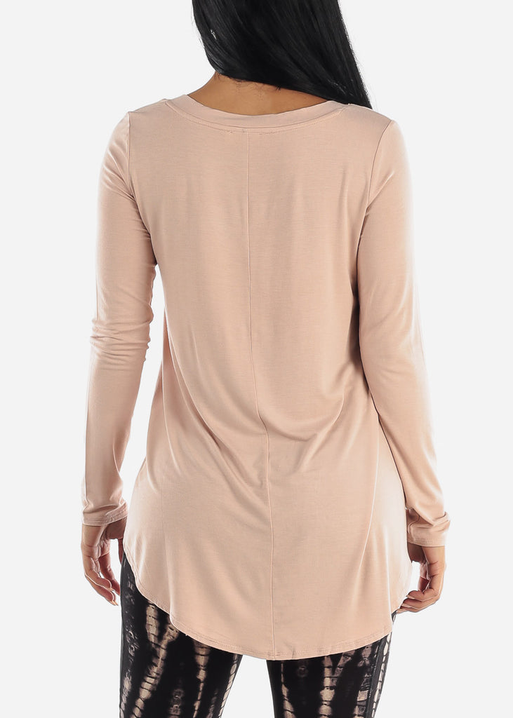 Blush V-Neck Dolphin Hem Tunic Top