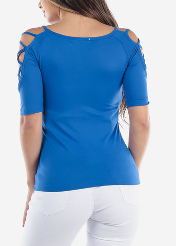 Women's Junior Ladies Casual Strappy Lace Up sleeves Solid Stretchy Royal Blue Basic Essential Top