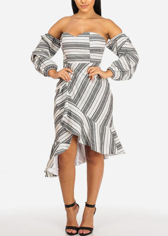 Off Shoulder Two-tone Ruffle Grey Dress