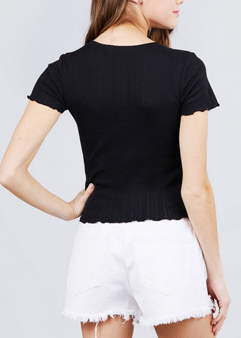 Image of Short Sleeve Pointelle Knit Black Top